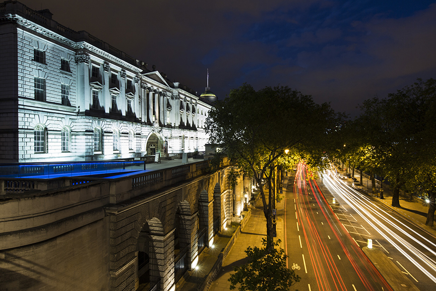 View of Somerset House and Victoria Embankment at night